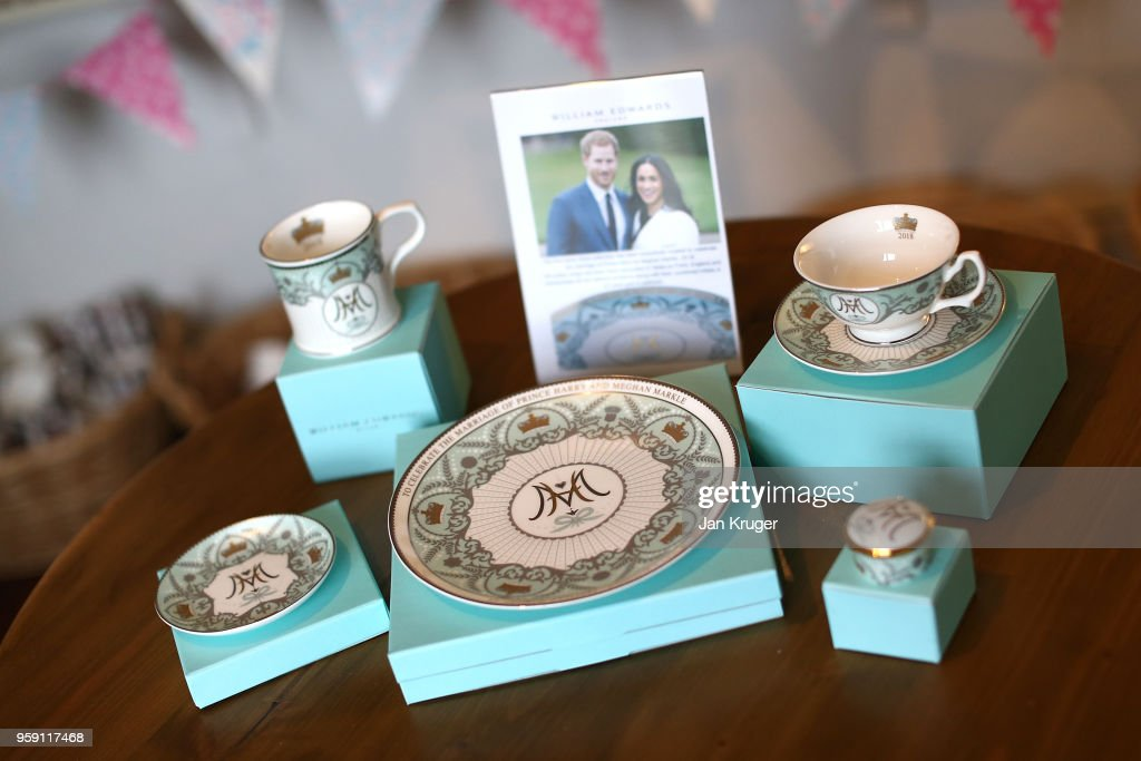 A special edition crockery set is displayed ahead of the wedding of Prince Harry and Meghan Markle at William Edwards Home Ltd on May 16, 2018 in Stoke on Trent, England. Crafted in the Potteries, William Edwards Home Ltd has created a limited edition collection of fine bone china embellished with both platinum and 22 carat gold to celebrate the Royal marriage of HRH Prince Harry and Meghan Markle.