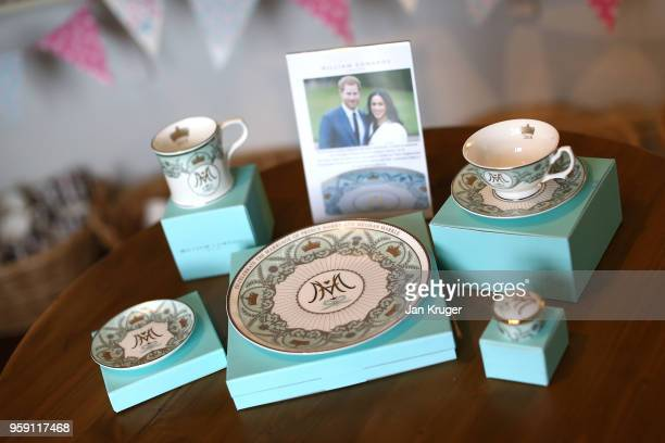 A special edition crockery set is displayed ahead of the wedding of Prince Harry and Meghan Markle at William Edwards Home Ltd on May 16 2018 in...