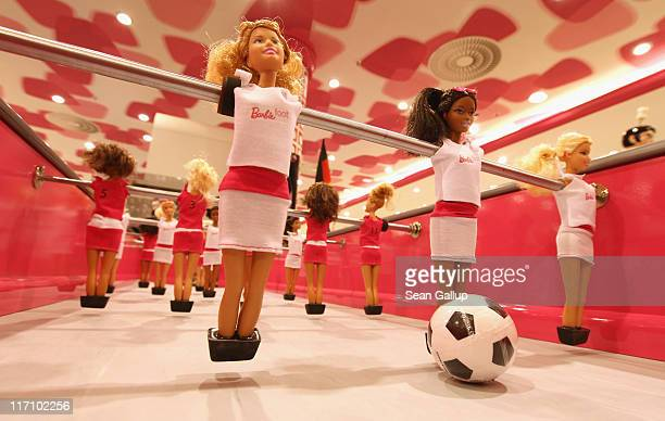 A special edition football table featuring Barbie dolls that retails for EUR 20000 stands on display at KaDeWe department store on June 22 2011 in...