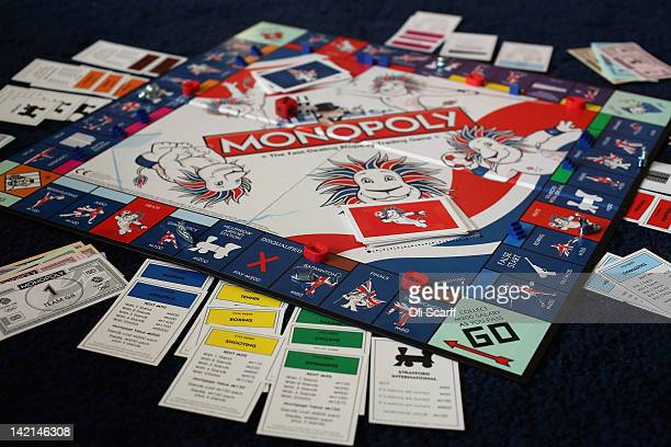 A special edition London 2012 Olympic Games themed version of the Monopoly board game on March 29 2012 in London England