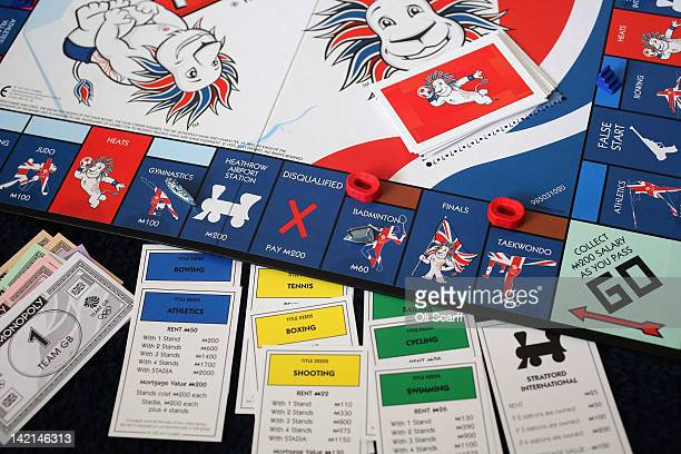 Special edition London 2012 Olympic Games themed version of the Monopoly board game on March 29, 2012 in London, England.