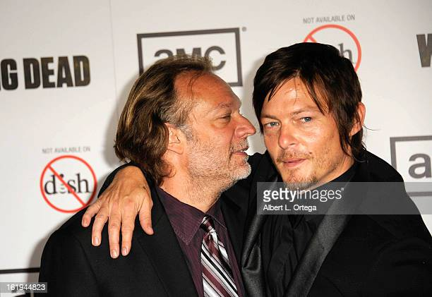 Special effects artist Greg Nicotero and actor Norman Reedus arrive for AMC's 'The Walking Dead' Season 3 Premiere held at AMC Universal Citywalk...