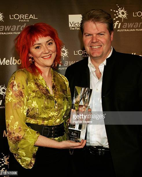 Special Effects Artists Rose Draper and Mike Seymour pose in the awards room with the award for Visual Effects at the L'Oreal Paris AFI 2006 Industry...