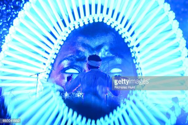 Special effects camera filter was used for this image Donald Glover of Childish Gambino performs onstage during the 2017 Governors Ball Music...