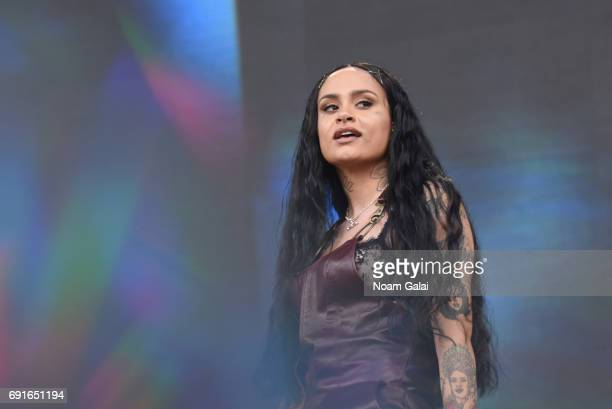 A special effects camera filter was used for this image Singer Kehlani performs onstage during the 2017 Governors Ball Music Festival Day 1 at...
