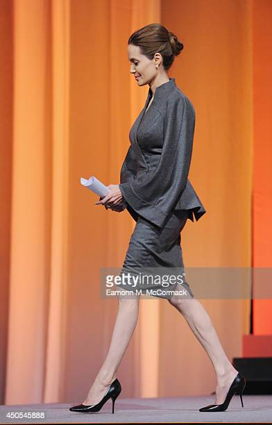 Special Envoy and actress Angelina Jolie attends the Global Summit to End Sexual Violence in Conflict at ExCel on June 13 2014 in London England The...