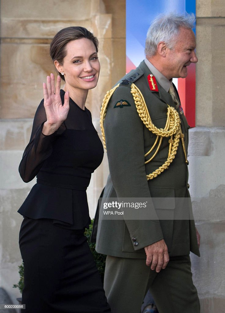 UN Special Envoy, Angelina Jolie is greeted by UK Vice Chief of the Defence Staff General Sir Gordon Messenger at the UN Peacekeeping Defence Ministerial at Lancaster House on September 8, 2016 in London, England.
