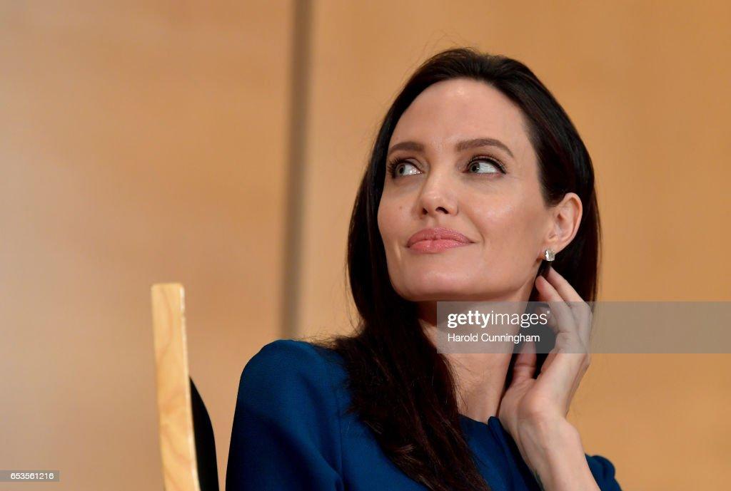 UNHCR Special Envoy Angelina Jolie Speaks At Annual lecture of the Sergio Vieira De Mello Foundation : News Photo