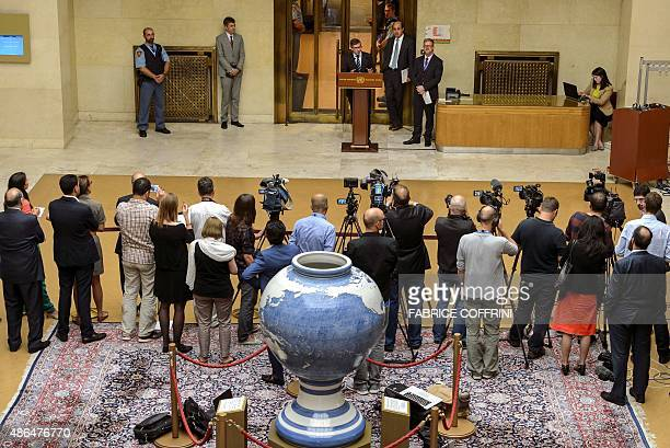 Special envoy for Libya, Bernardino Leon attends a press conference during Libya peace talks on September 4, 2015 at the UN Office in Geneva. A new...