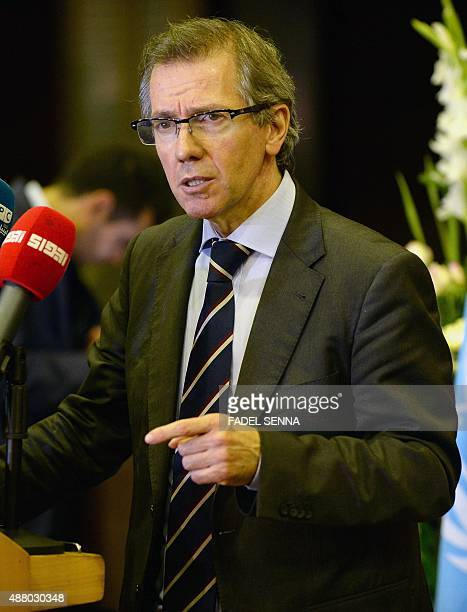 UN special envoy for Libya Bernardino Leon speaks at a press conference during a new round of peace talks on the Libyan conflict on September 12 in...