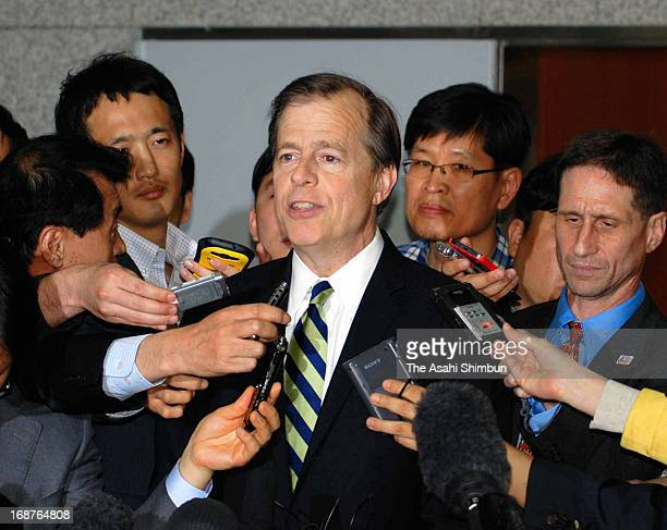 US Special Envoy for North Korea Glyn Davies speaks to the media reporters after meeting with his South Korean counterpart Lim SungNam on May 14 2013...