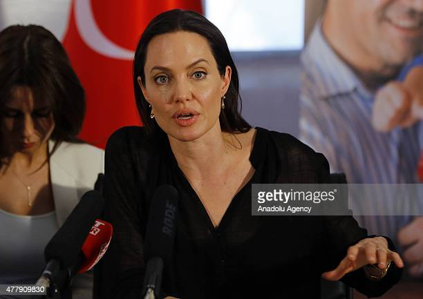 N Special Envoy for Refugees Angelina Jolie and UN High Commissioner for Refugees Antonio Guterres attend a press conference after visiting Kurdish...