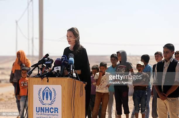 N Special Envoy for Refugees Angelina Jolie holds a press conference during her visit at Al Azraq refugee camp in Amman Jordan on September 9 2016