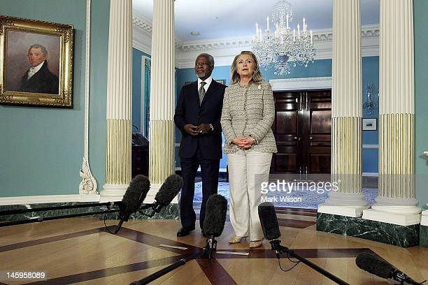 Special Envoy for Syria Kofi Annan and Secretary of State Hillary Clinton speak to the media before a meeting at the Department of State on June 8...