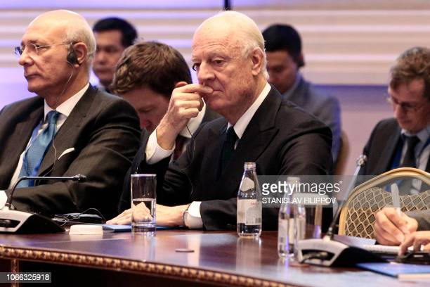 UN Special Envoy for Syria Staffan de Mistura attends the plenary session of Syria peace talks brokered by Iran Russia and Turkey in Astana on...