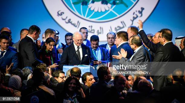 UN Special Envoy for Syria Staffan de Mistura delivers a speech at the end of a plenary session at the Congress of Syrian National Dialogue in Sochi...