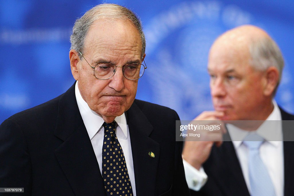U.S. Special Envoy for the Middle East George Mitchell (L) leaves after a briefing during the Middle East peace talks at the State Department September 2, 2010 in Washington, DC. Mitchell said both the Palestinians and Israelis have agreed to meet again in the region on September 14 and 15.