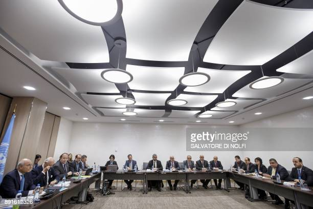 UN Special Envoy of the SecretaryGeneral for Syria Staffan de Mistura and Nasr alHariri Head of the Syrian Negotiation Commission SNC attend a round...