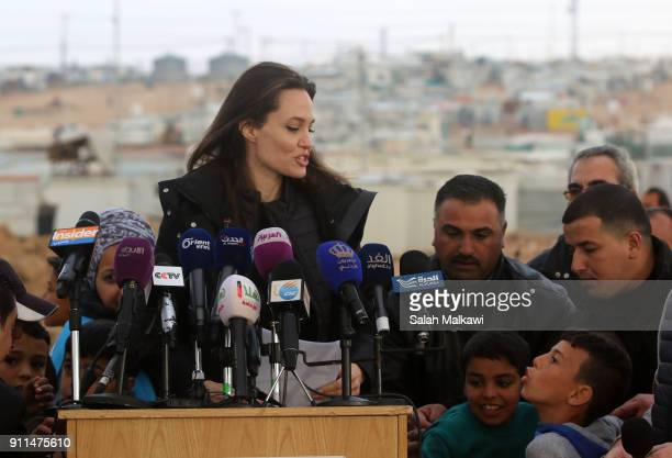 Special envoy of the UN refugee agency and movie star Angelina Jolie holds a press conference at the Zaatari camp for Syrian refugees on January 28...