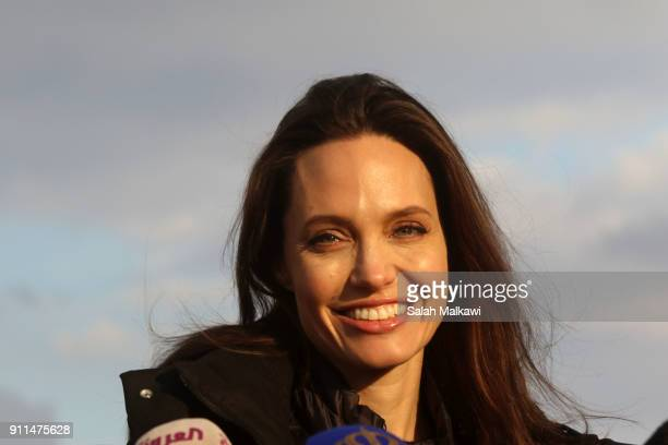 Special envoy of the U.N. Refugee agency and movie star Angelina Jolie holds a press conference at the Zaatari camp for Syrian refugees on January...
