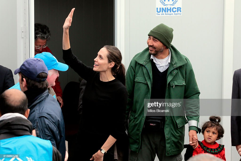 Angelina Jolie Visits The Refugee Reception Area At The Port Of Piraeus : News Photo