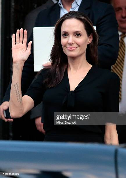 Special envoy of the United Nations High Commissioner for Refugees Angelina Jolie leaving the Greek Prime minister's office after a meeting with...