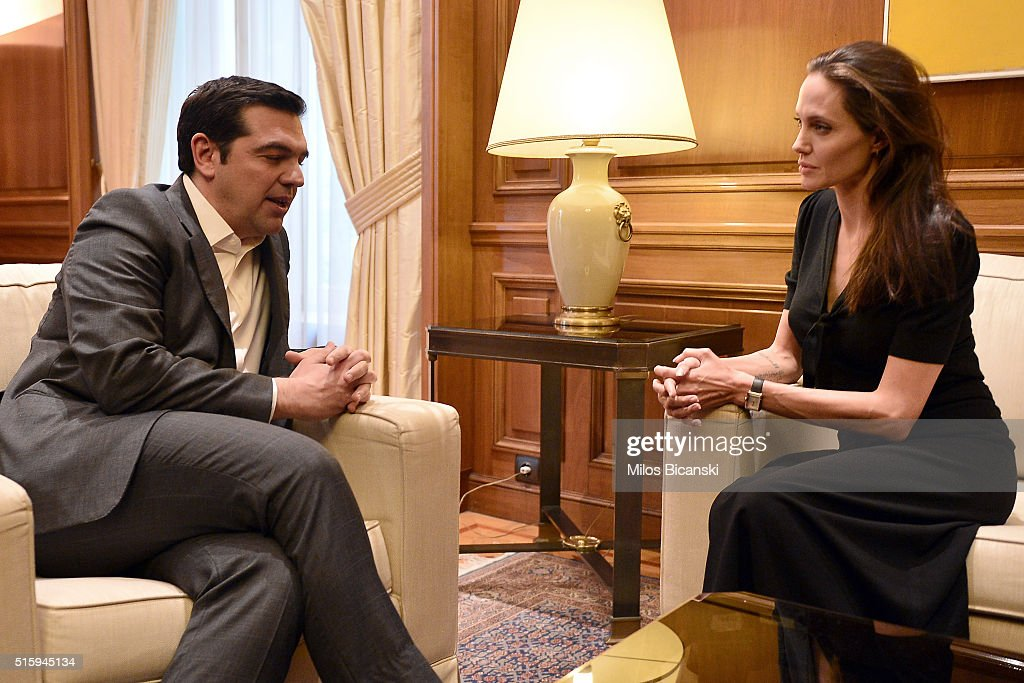 Special envoy of the United Nations High Commissioner for Refugees Angelina Jolie (R) during a meeting with Greek Prime Minister Alexis Tsipras on March 16, 2016 in Athens, Greece.