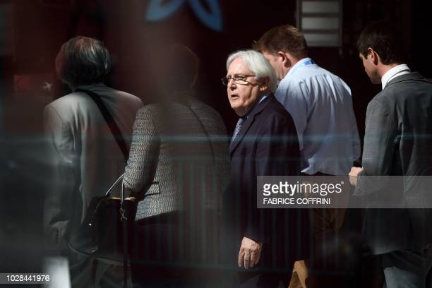 Special envoy on Yemen Martin Griffiths speaks with members of his delegation on his way to a meeting with Yemen's foreign minister at a hotel on...