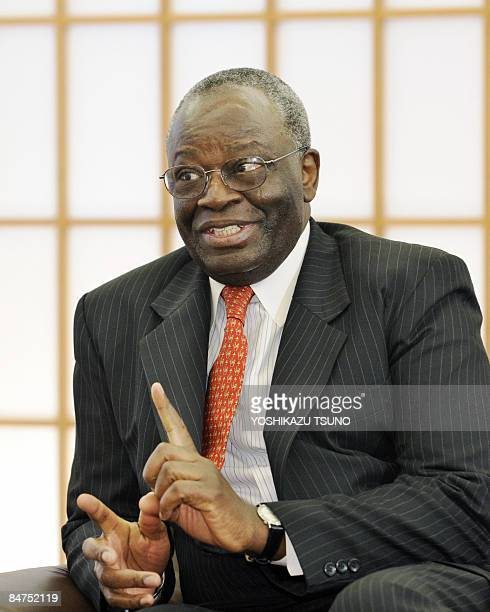 UN special envoy to Myanmar Ibrahim Gambari speaks to Japanese Foreign Minister Hirofumi Nakasone during their talks at Nakasone's office in Tokyo on...