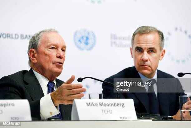 Special envoy to the United Nations for climate change Michael Bloomberg attends a press conference next to Bank of England Governor Mark Carney...