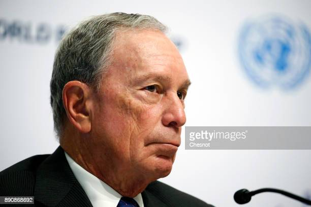 Special envoy to the United Nations for climate change Michael Bloomberg attends a press conference during the One Planet Summit at the Seine...