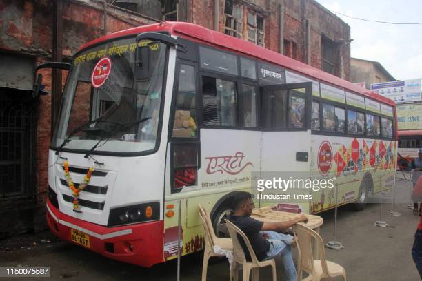 Special exhibition hall made by converting one of the ST bus on the occasion of 71 years of State Transport buses at Thane ST depot near Thane...