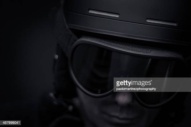 special forces agent with black helmet and goggles