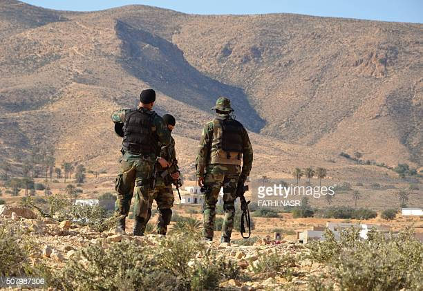 Special forces from the Tunisian National Guard take part in a security sweep in the mountainous Tounine area some 30 kilometres south of the coastal...