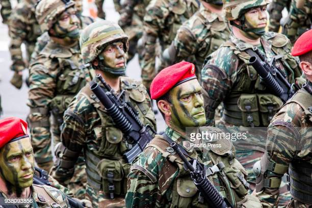 Special forces men are marching during the parade A military parade takes place due to Independence Day in Greece 25th March is the commemoration of...
