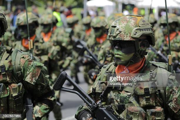 Special Forces of Colombian Army take part in a military parade to celebrate the independence anniversary of The Republic of Colombia in Bogota...