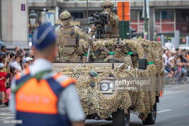 Special Forces of the Belgian Army participate in the National day Parade on July 21 2018 in Brussels Belgium