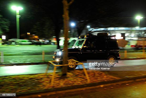 Special forces of the German Federal Police GSG9 arrive at the HDIArena after a bomb alert prior the match Germany against the Netherlands at the...