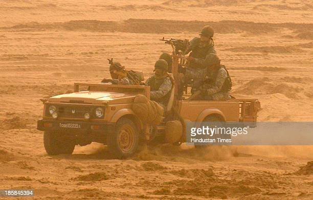 Special forces of the mechanized regiment in their specialized vehicle to strike the enemy forces during the IndiaRussia Joint Exercise Indra2013 at...