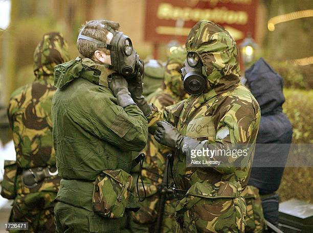 Special forces prepare to look for evidence in the flat where a policeman was killed the day before January 15 2003 in Manchester England British...