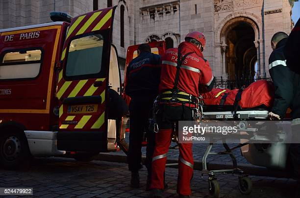Special forces rescues a sick man from the top of the Sacre-Coeur basilic in Montmartre, Paris on December 15, 2015