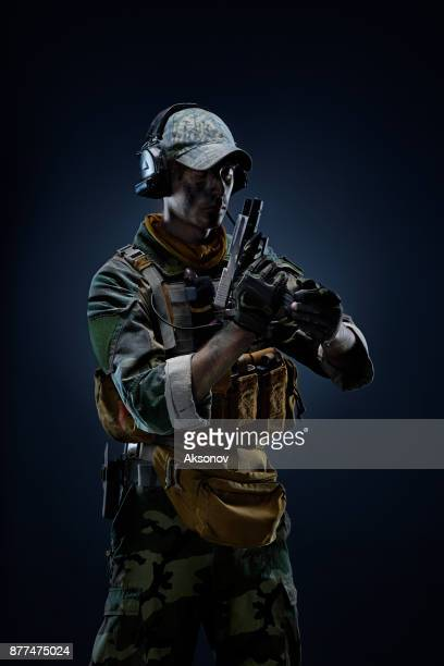 Special Forces soldier in action. Portrait of a Soldier