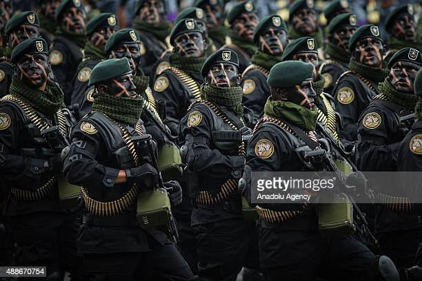 Special Forces troops during the Military Parade of the 205 of Independence of Mexico in the Zocalo Square at Mexico City, Mexico on September 16,...