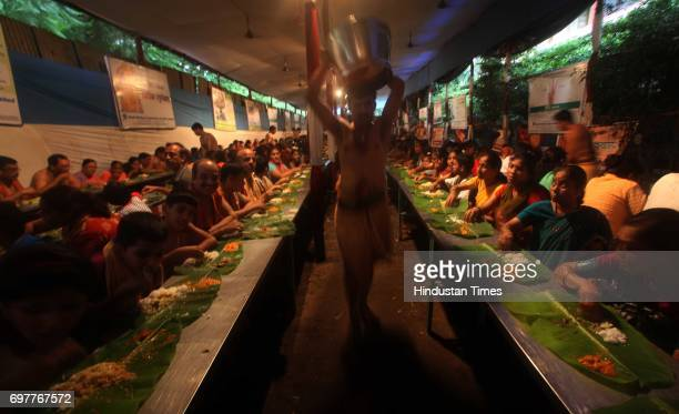A special free vegetarian meal of rice vegetables curry and dessert is served all through the eleven days in the traditional custom on a banana leaf...