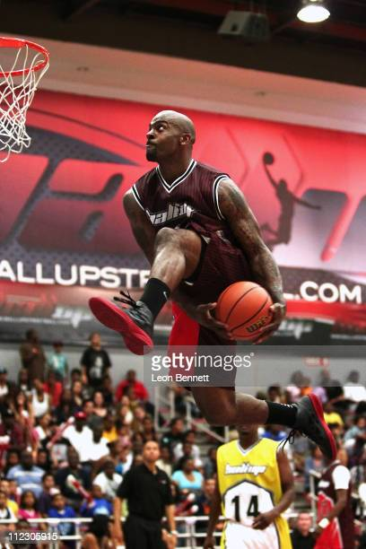 Special FX dunking the ball during Ball Up Allstars 2011 Streetball Season - Game 4 at Cal State Northridge on April 17, 2011 in Northridge,...