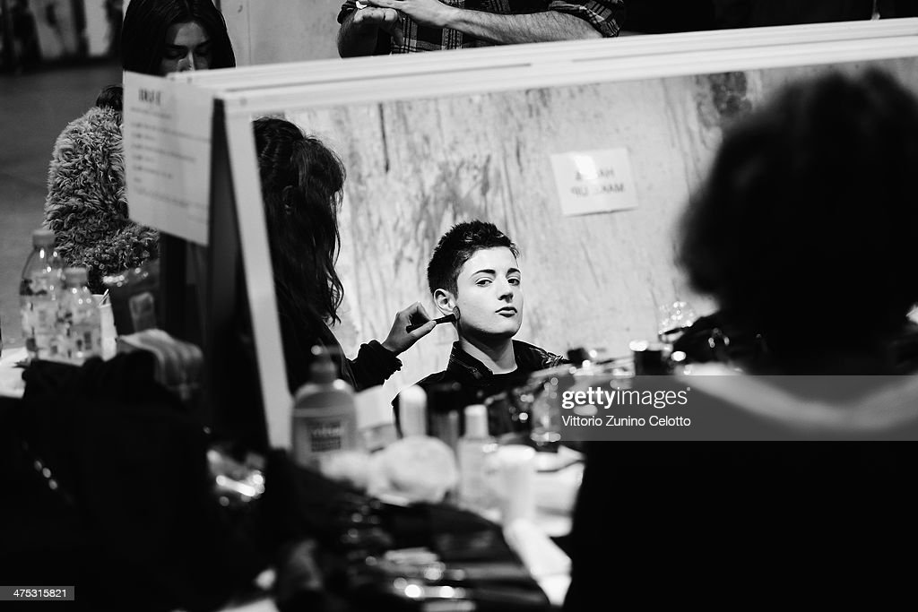 Special guest and model Harry Brant is seen backstage prior the IRFE by Olga Sorokina show as part of the Paris Fashion Week Womenswear Fall/Winter 2014-2015 at Espace Vendome on February 27, 2014 in Paris, France.