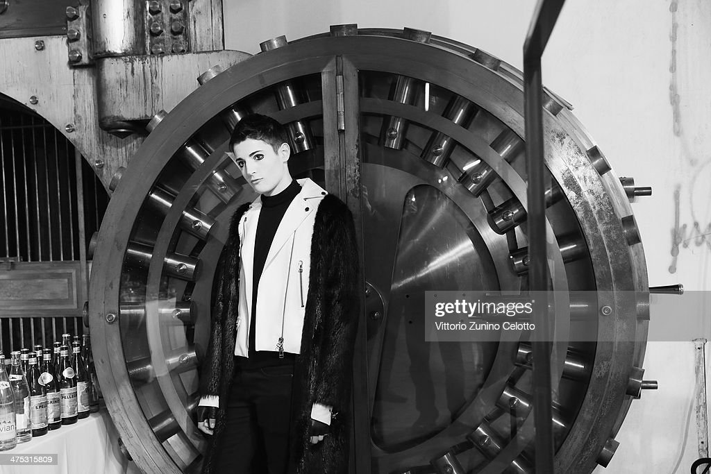 Special guest and model Harry Brant poses prior the IRFE by Olga Sorokina show as part of the Paris Fashion Week Womenswear Fall/Winter 2014-2015 at Espace Vendome on February 27, 2014 in Paris, France.