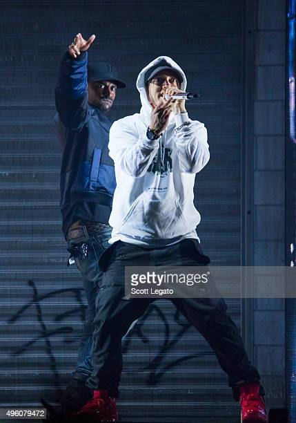 Special guest Eminem performs during the Big Sean concert in his hometown of Detroit at Joe Louis Arena on November 6 2015 in Detroit Michigan