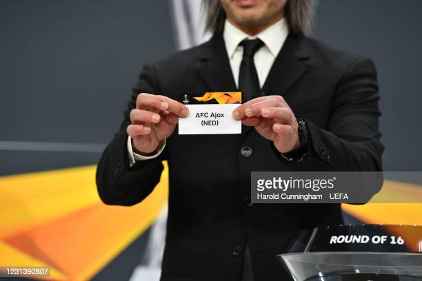 Special guest Hakan Yakin draws out the name of AFC Ajax during the UEFA Europa League 2020/21 Round of 16 draw at the UEFA Headquarters, the House...