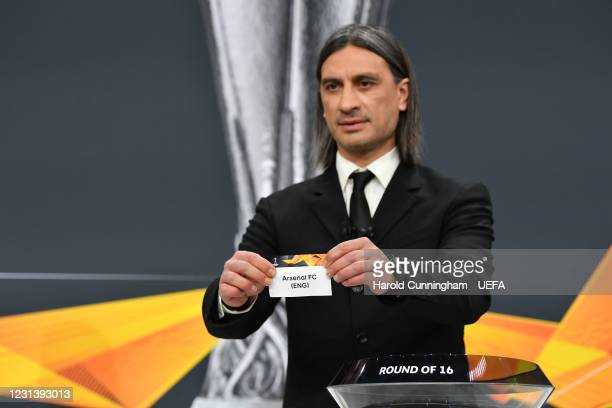 Special guest Hakan Yakin draws out the name of Arsenal FC during the UEFA Europa League 2020/21 Round of 16 draw at the UEFA Headquarters, the House...